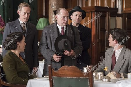'The Halcyon' (Ep 7) : Steven MacKintosh as Richard, Olivia Williams as Lady Hamilton, Danny Webb as Mortimer, Edward Bluemel as Toby and Charles Edwards as Lucian