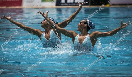 Spanish Swimmers Ona Carbonell and Gemma Mengual Participate in a Round of Technical Exercises in the First Day of the Synchronised Swimming Preolympic Championship at the Olympic Center Maria Lenk in Rio De Janeiro Brazil 02 March 2016 Brazil Rio De Janeiro