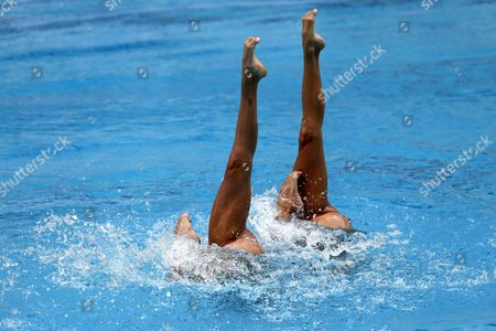 Spain's Gemma Mengual and Ona Carbonell Perform During the Duet First Round Free Routine of the Synchronised Swimming Olympic Games Qualification Tournament at the Maria Lenk Aquatic Arena in Rio De Janeiro Brazil 03 March 2016 Brazil Rio De Janeiro