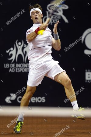 Daniel Gimeno-traver of Spain Returns the Ball to Guilherme Clezar of Brazil During Their Match of the Brasil Open Tennis Tournament in Sao Paulo Brazil 22 February 2016 Brazil Sao Paulo