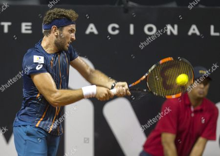 Guilherme Clezar of Brazil Returns the Ball to Daniel Gimeno-traver of Spain During Their Match of the Brasil Open Tennis Tournament in Sao Paulo Brazil 22 February 2016 Brazil Sao Paulo