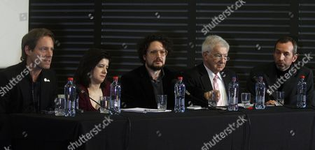 Stock Picture of (l-r) German Film Director Florian Gallenberger Human Rights Lawyer Magdalena Garces Journalist Hanst Stange Former Political Prisoner Luis Peebles and a Former Settler of Colonia Dignidad Attend a Roundtable After Presenting the Film 'Colonia' at the Cultural Center Alameda in Santago De Chile Chile 12 July 2016 Oscar-winner Florian Gallenberger Directed the 2015 Historical Romantic Thriller 'Colonia' (the Colony) Inspired by the Events of the Notorious Cult of 'Colonia Dignidad ' a Mysterious German Enclave in Southern Chile Chile Santiago