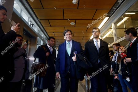 Stock Image of Chilean Former Minister of Mining and Former Presidential Candidate Laurence Golborne (c) From Rigth-wing Party Democtratic Independent Union (udi) Arrives For a Hearing in a Corruption Case Against Him at Justice Center in Santiago Chile 29 June 2016 Chile Santiago