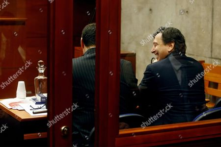 Stock Photo of Chilean Former Minister of Mining and Former Presidential Candidate Laurence Golborne (r) From Rigth-wing Party Democtratic Independent Union (udi) During a Hearing in a Corruption Case Against Him at Justice Center in Santiago Chile 29 June 2016 Chile Santiago