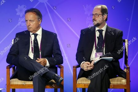 Personal Representative of the President of the Republic of France Jean Pierre Bel (l) and Italian Vice Director For Latin American Affairs Nicolo Tassoni (r) During the Inauguration of Ministerial Meeting of Pacific Alliance and Observer States in Puerto Varas Chile 29 June 2016 Chile Puerto Varas
