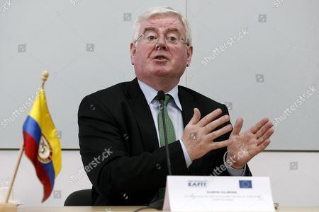 Eu Special Envoy For the Peace Process in Colombia Eamon Gilmore During a Presser in Medellin Colombia 24 May 2016 Gilmore Spoke About the Disappearance of Spanish Journalist Salud Hernandez Colombia Medell?n