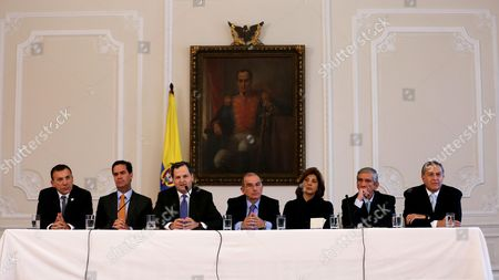 (l-r) Colombian Senator Roy Barreras Member of the Peace Talks Negotiation Team Frank Pearl High Commissioner of Peace Sergio Jaramillo Chief of the Delegation of Colombian Government Humberto De La Calle Colombian Foreign Minister Maria Angela Holguin Retired General of the Army Jorge Enrique Mora Rangel and Member of the Negotiation Team Oscar Naranajo During a Press Conference in Bogota Colombia 29 August 2016 the Colombian Government and Farc Rebel Group Signed a Peace Treaty in Havana Cuba on 24 August Colombia Bogota