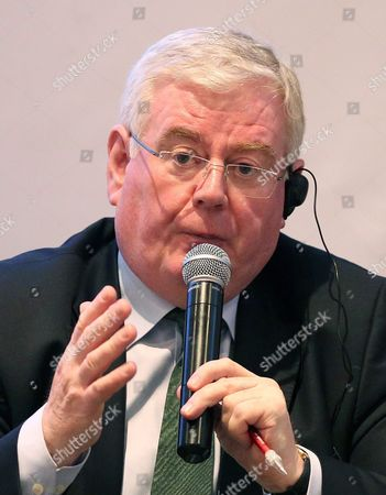 Eu Special Envoy For Colombia Peace Eamon Gilmore Talks During the Seminar 'The Role of Communication in the Post-conflict and Construction of Peace' in Bogota Colombia 17 March 2016 Gilmore is on His Third Visit to the Country with the Purpose of Discussing the Cooperation Role in the Post-conflict Colombia Bogota
