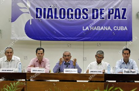 The Head of the Peace Delegation From the Colombian Government Humberto De La Calle (c) Talks Next to the High Commissioner For Peace Sergio Jaramillo (2-l) General Oscar Naranjo (r) Jorge Mora Rangel (2-r) and the Government Delegate Frank Pearl (r) in Havana Cuba 25 August 2016 Nearly Four Years of Arduous and Intense Negotiations Culminated on 24 August in Havana Cuba with a Historic Peace Agreement Between the Government of Colombia and the Farc Peace Negotiations Which Started in 2012 Ended This Week in the Cuban Capital Havana After Three and a Half Years and the Definitive Deal is Expected to Be Signed in the Coming Days in Colombia Over 200 000 People Civilians and Combatants Have Died in the Colombian Conflict Since the Beginning of the 1960's and Over 5 Million People Had to Flee Their Homes Because of It Cuba Havana