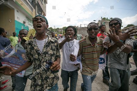Supporters of the Party Lavalas Demonstrate in Support of Haitian President Jocelerme Privert in the Streets of Port-au-prince Haiti 04 May 2016 Privert Said the Agreement Reached on Last 05 February Between Haitian Former President Michel Martelly and the Parliament During the Electoral Crisis of the Country Over a Provisional Government Will Remain Until Next Elections Elections That Were Scheduled in the Country For 26 April 2016 Were Again Postponed Haiti Port-au-prince