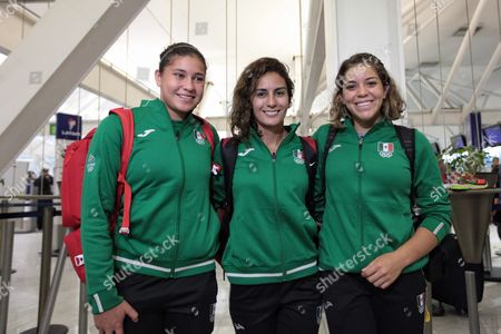 (from Left) Mexican Divers Dolores Hernandez Paola Espinosa and Alejandra Orozco at Mexico City International Airport 01 August 2016 During the Departure of Members of the Mexican Team to the Rio 2016 Olympic Games Mexico Mexico City