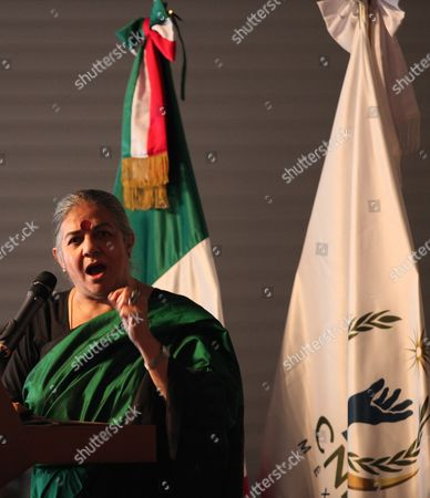 Indian Activist Vandana Shiva Speaks During the Inauguration of the First International Forum of Rights of the Mother Earth in Mexico City Mexico on 01 June 2016 with the Participation of 150 Entities Organizers and Representatives of 20 Countries Seeking to Encourage Nations to Adopt Laws That Recognize the Rights of the Planet Mexico Mexico City