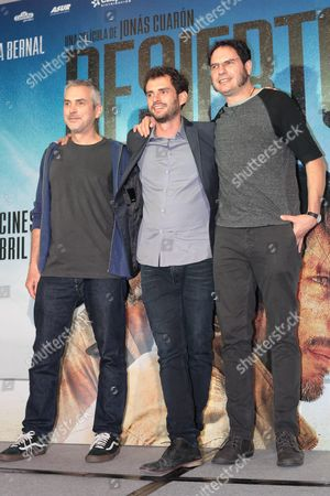 (l-r) Mexican Writer Alfonso Cuaron Director Jonas Cuaron and Writer/producer Carlos Cuaron Pose During the Photocall For the Movie 'Desierto' in Mexico City Mexico 09 April 2016 Desierto was First Released on 13 September 2015 at the Toronto International Film Festival Mexico Mexico City