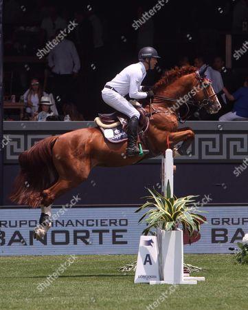Mexican Horseman Eduardo Sanchez Competes During the Global Champions Tour Held in Mexico City Mexico 15 April 2016 Sanchez Won Third Place in the Competition Mexico Ciudad De M?xico