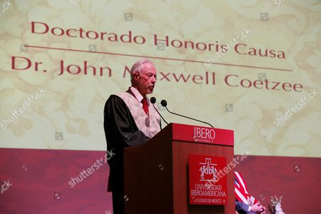 South African Nobel Prize of Literatue John Maxwell Coetzee Speaks During a Ceremony in Which He was Honored with the Doctorate Honoris Causa at Universidad Iberoamericana University in Mexico City Mexico 05 April 2016 Mexico Mexico City