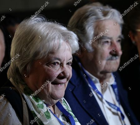 The Former President of Uruguay Jose Mujica (r) and His Wife Senator Lucia Topolansky (l) Take Part in a Forum During the 72nd General Assembly of the Inter American Press Association in Mexico City Mexico 14 October 2016 Mexico Mexico City