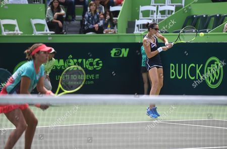 Spanish Tennis Players Anabel Medina (l) and Arantxa Parra (r) in Action Against Croatian Petra Marttic and Us Maria Sanchez During the Doubles Final at Monterrey Open in Monterrey Mexico 06 March 2016 Mexico Monterrey