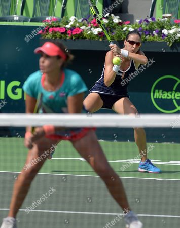 Spanish Tennis Players Anabel Medina (l) and Arantxa Parra in Action Against Croatian Petra Marttic and Us Maria Sanchez During the Doubles Final at Monterrey Open in Monterrey Mexico 06 March 2016 Mexico Monterrey