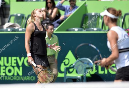 Croatian Petra Marttic (l) and Us Maria Sanchez in Action Against Spanish Tennis Players Anabel Medina in Action Against During the Doubles Final at Monterrey Open in Monterrey Mexico 6 March 2016 Mexico Monterrey