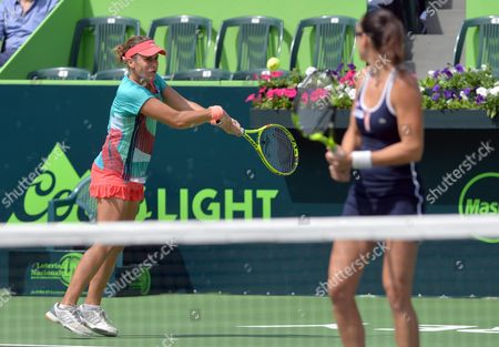 Spanish Tennis Players Anabel Medina (l) and Arantxa Parra in Action Against Croatian Petra Marttic and Us Maria Sanchez During the Doubles Final at Monterrey Open in Monterrey Mexico 6 March 2016 Mexico Monterrey