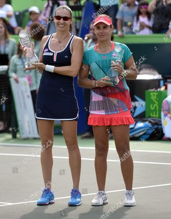 Spanish Tennis Players Anabel Medina (r) and Arantxa Parra Posing with Their Trophys After Winning Over Croatian Petra Marttic and Us Maria Sanchez During the Doubles Final at Monterrey Open in Monterrey Mexico 06 March 2016 Mexico Monterrey