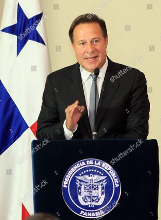 Panamanian President Juan Carlos Varela Speaks During a Ceremony Installing the Independent Committee of Experts For the Center of Financial Services of Panama in Panama City Panama 29 April 2016 the Panamanian Government Installed the Committee of Seven Experts Led by Nobel Prize of Economy 2001 Joseph Stiglitz to Evaluate the Financial System of the Country and to Help Strengthening It After the Scandal of the Panama Papers Leak Panama Panama City