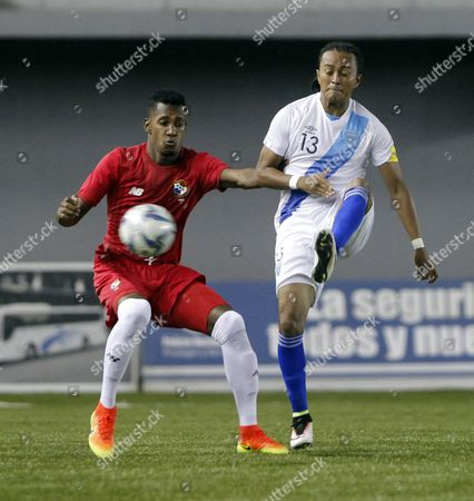 Michael Amir Murillo (l) of Panama Vies For the Ball with Wilmer Garcia (r) of Guatemala During the Friendly Soccer Match Between Panama and Guatemala in Panama City Panama 10 August 2016 Panama Panama City