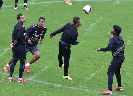 Peruvian National Soccer Team Players From Left to Right Jose Carvallo Cesar Ortiz Cristian Benavente and Miguel Araujo During a Training Session in Lima Peru on 05 September 2016 Peru Will Play on 06 September Against Ecuador in Their South American Qualifying Match For the Fifa World Cup Russia 2018 Peru Lima
