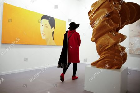 A Visitor Walks Past the Painting 'Marisa' by Us Artist Alex Katz in the Exhibition Space of the Beta Pictoris Gallery During the Arco International Contemporary Art Fair at the Ifema Exhibition Site in Madrid Spain the Art Fair Runs From 24 to 28 February Spain Madrid
