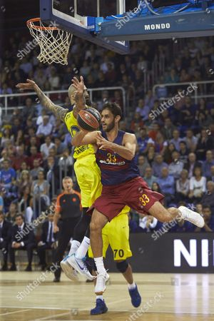 Fc Barcelona Lassa's Stratos Perperoglou (r) and Pero Antic (l) of Fenerbahce Istanbul During the Euroleague Basketball Game Between Fc Barcelona Lassa and Fenerbahce Istanbul at Palau Blaugrana Stadium in Barcelona Catalonia Spain 21 October 2016 Spain Barcelona