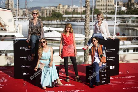 Spanish Filmmaker Ines Paris (c) Poses with Spanish Actresses (l-r) Belen Rueda Patricia Montero Beatriz De La Gandara and Maria Pujalte During the Presentation of Their Movie 'La Noche Que Mi Madre Mato a Mi Padre' (lit the Night My Mother Killed My Father) at the 19th Malaga Film Festival in Malaga Spain 23 April 2016 the Film Festival Runs From 22 April to 01 May Spain Malaga