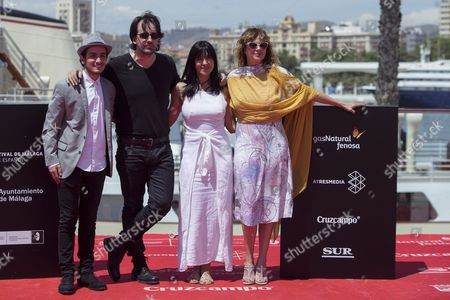 Spanish Film-makers Isaki Lacuesta (2l) and Isa Campo (2r) Pose with Actore Mikel Iglesias (l) and Emma Suarez (r) During the Presentation of the Film 'La Pr?xima Piel (the Next Skin) at the 19th Edition of Malaga's Spanish Film Festival in Malaga Southern Spain 28 April 2016 the Film Festival Runs From 22 April to 01 May Spain Malaga