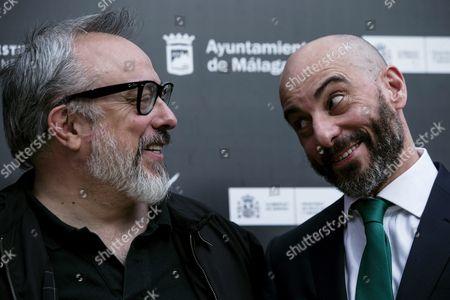 Spanish Director Alex De La Iglesia (l) and Actor Jaime Ordonez (r) Pose During the Presentation of the Film 'El Bar' (the Pub) at the 19th Edition of Malaga's Spanish Film Festival in Malaga Southern Spain 28 April 2016 the Film Festival Runs From 22 April to 01 May Spain Malaga