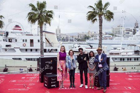 Spanish Director Pedro Barbero (c) Poses with Actors/cast Members Carmen Maura (2-l) Carolina Bang (l) Lucia De La Fuente (2-r) and Jose Corbacho (r) During a Photocall For Their Movie 'El Futuro No Es Lo Que Era' (the Future is not what It Once Was) at the 19th Malaga Film Festival in Malaga Spain 29 April 2016 the Film Festival Runs From 22 April to 01 May Spain Malaga