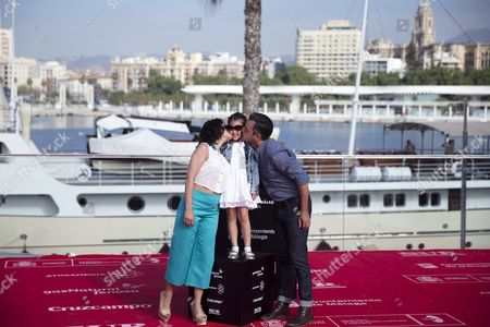 Stock Picture of Spansih Director Ander Duque (r) Poses with Spanish Actresses Rosalinda Ganda (l) and Zoe Gavira (c) After the Presentation of the Film 'Zoe' During the 19th Malaga Film Festival in Malaga Spain 27 April 2016 the Festival Runs From 22 April to 01 May Spain Malaga