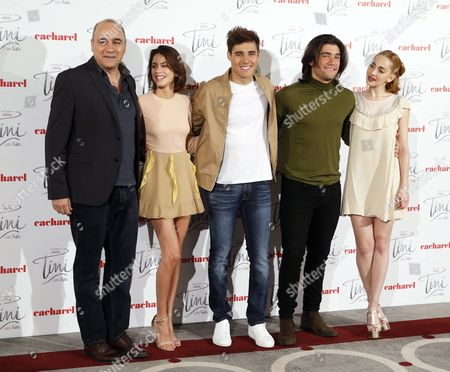 (l-r) Argentinian Director Juan Pablo Buscarini Poses with Argentinian Actress Martina Stoessel Mexican Actor Jorge Blanco Spanish Actor Adrian Salzedo and Argentinian Actress Mercedes Lambre During a Photocall For Their Movie 'Tini: El Gran Cambio De Violetta' (tini: the Big Change of Violetta) in Madrid Spain 27 April 2016 the Movie Will Be Released in the Spanish Cinemas on 04 May Spain Madrid