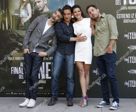 (l-r) Argentine Actor Leonardo Sbaraglia Argentine Film Director Rodrigo Grande Spanish Actress Clara Lago and Spanish Actor Javier Godino Pose During the Presentation of 'Al Final Del Tunel' (at the End of the Tunel) in Madrid Spain 08 August 2016 the Movie Will Be Released in Spanish Theaters on 12 August Spain Madrid