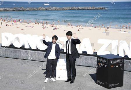 Japanese Director Makoto Shinkai (l) and Producer Genki Kawamura (r) Pose During the Photocall For 'Kimi No Na Wa' at the San Sebastian International Film Festival in San Sebastian Spain 24 September 2016 the 64th Edition of the Film Festival Runs From 16 to 24 September Spain San Sebastian