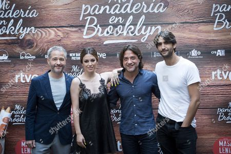 (l-r) Spanish Film Director Gustavo Ron Actress Blanca Suarez and Actors Enrique Arce and Aitor Luna Pose During the Photocall of the Presentation of the Film 'My Bakery in Brooklyn' in Madrid Spain on 28 June 2016 the Spanish Movie That was Filmed in English in New York Will Be Shown in Theatres on 01 July 2016 Spain Madrid
