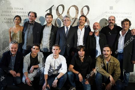 Spanish Filmmaker Salvador Calvo (4-r Back Row) and the Producer Enrique Cerezo (4-l Back Row) Pose with the Actors Alexandra Masangkay Karra Elejalde Alvaro Cervantes Javier Gutierrez Luis Tosar and Eduard Fernandez (back Row L-r) and Carlos Hipolito Miguel Herran Patrick Criado Emilio Palacios and Ricardo Gomez (front Row L-r) During the Presentation of the Filming of the Movie '1898 Los Ultimos De Filipinas' in Madrid Spain 05 May 2016 the Movie Will Be Shot in Guinea Tenerife and Gran Canaria For Nine Weeks Spain Madrid