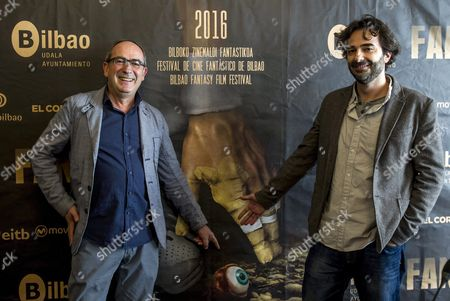 Spanish Filmmaker Gonzalo Lopez-gallego (r) Poses with the Town Council's Culture Manager Inaki Lopez De Aguileta (l) During the Presentation of His New Movie 'The Hollow Point' at the 22nd Bilbao Fantasy Film Festival 'Fant 2016' in Bilbao Spain 06 May 2016 Fant 2016 Runs From 06 to 13 May Spain Bilbao