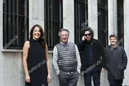 (l-r) Spanish Actress Nora Navas Argentine Actor Oscar Martinez and Argentine Film Directors Mariano Cohn and Gaston Duprat Pose During the Presentation of Their Movie 'El Ciudadano Ilustre' (the Distinguished Citizen) at the Seminci International Film Festival in Valladolid Spain 23 October 2016 Spain Valladolid