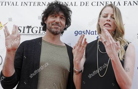 Spanish Film Maker Miguel Angel Vivas (l) and Us Actress Rachel Nichols (r) Pose For the Media During the Presentation of Their Film 'Inside' at the Fantastic Film Festival of Sitges in Sitges Barcelona Spain on 07 October 2016 Spain Stiges