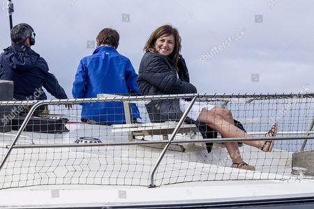 Spanish Actress Marian Alvarez (r) Attends the Filming of the Movie Directed by Fernando Franco 'Morir' (lit 'Dying') at Plentzia Northern Spain 28 September 2016 Spain Plentzia (bizkaia)