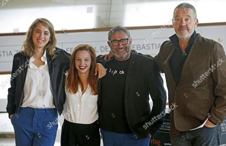 French Film Director Arnaud Des Pallieres (r) Poses with Actors and Cast Members French Adele Haenel (l) and Solene Rigot (2l) and Spanish Sergi Lopez During the Photocall of the Film 'Orpheline' During the 64th Edition of the San Sebastian International Film Festival in San Sebastian Northern Spain 17 September 2016 the Festival Will Run From 16 to 24 September 2016 Spain San Sebastian