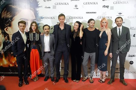 (l-r) Spanish Actors Victor Clavijo Maria Valverde Spanish Director Koldo Serra British Actor James D'arcy and Spanish Actors Barbara Goenaga Alex Garcia Natalia Alvarez Bilbao and Julian Villagran Pose at the Premiere of 'Gernika' in Madrid Spain 05 September 2016 the Movie Opens in Spanish Theaters on 09 September Spain Madrid