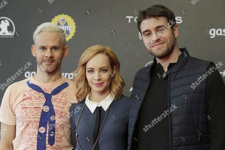 Spanish Film Maker Carles Torrens (r) Pose For Photos with British Actor Dominic Monaghan (l) and Canadian Actress Ksenia Solo (c) During the Presentation of the Film 'Pet' at 49th Sitges International Fantastic Film Festival in Sitges Barcelona Spain 12 October 2016 the Festival Runs From 07 to 16 October Spain Sitges