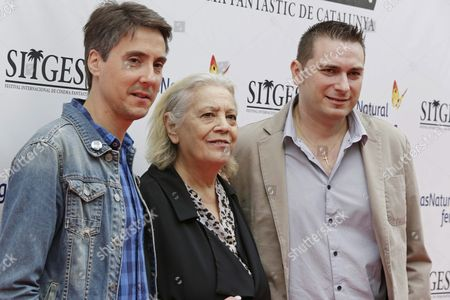 Spanish Film Makers Diego Lopez (l) and David Pizarro (r) Flank Actress Terele Pavez (c) to Present the Documentary Film 'Heir of the Beast' 'About the Influence of the Alex De La Iglesia's Film 'The Day of the Beast' of 1995 at 49th Sitges International Fantastic Film Festival in Sitges Barcelona Spain 12 October 2016 the Festival Runs From 07 to 16 October Spain Sitges
