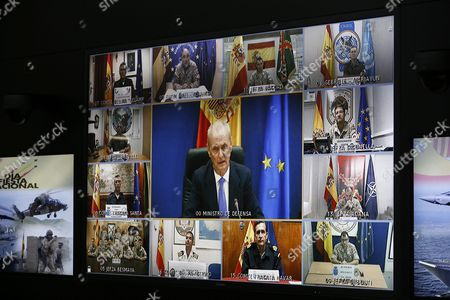 Spanish Acting Defence Minister Pedro Morenes Speaks Via Videoconference with Spanish Troops Deployed Abroad on the Occassion of the National Day in Madrid Spain 12 October 2016 Spain Madrid