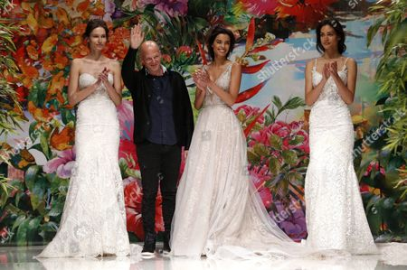 Designer Sharon Sever (2-l) Waves on the Catwalk Next to Models Wearing His Creations After Presenting His Collection For Galia Lahav at the Barcelona Bridal Fashion Week in Barcelona Spain 28 April 2016 the Event Runs From 26 to 29 April Spain Barcelona